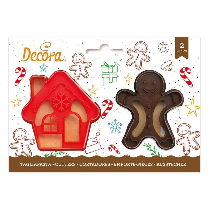 Sada 2 ks vykrajovátok  domček a vianočný panáčik