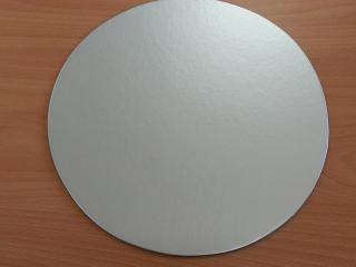 Kartónová podložka kruh 30 cm,strieborná