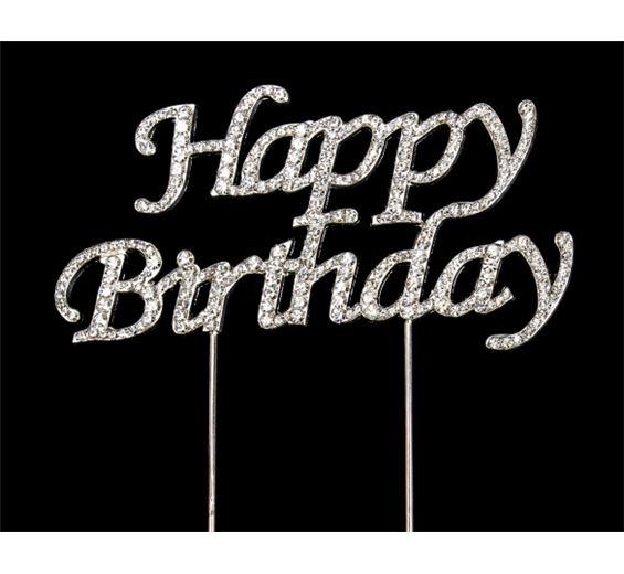 Štrasová ozdoba Happy Birthday