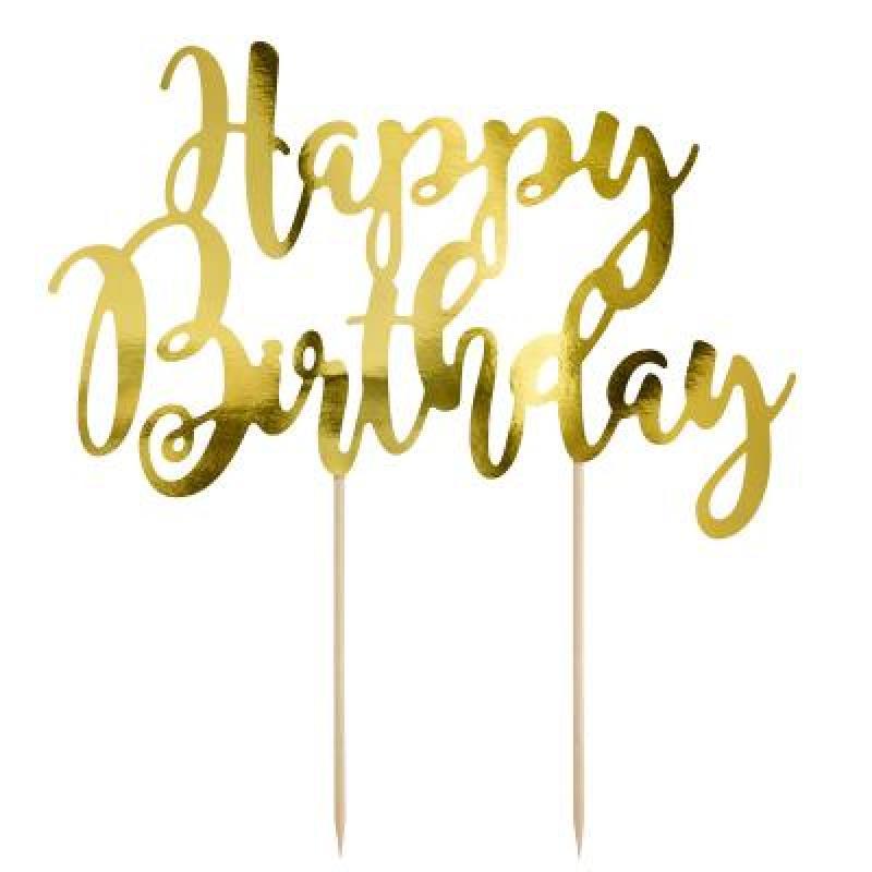 Zápich happy Birthday zlatý