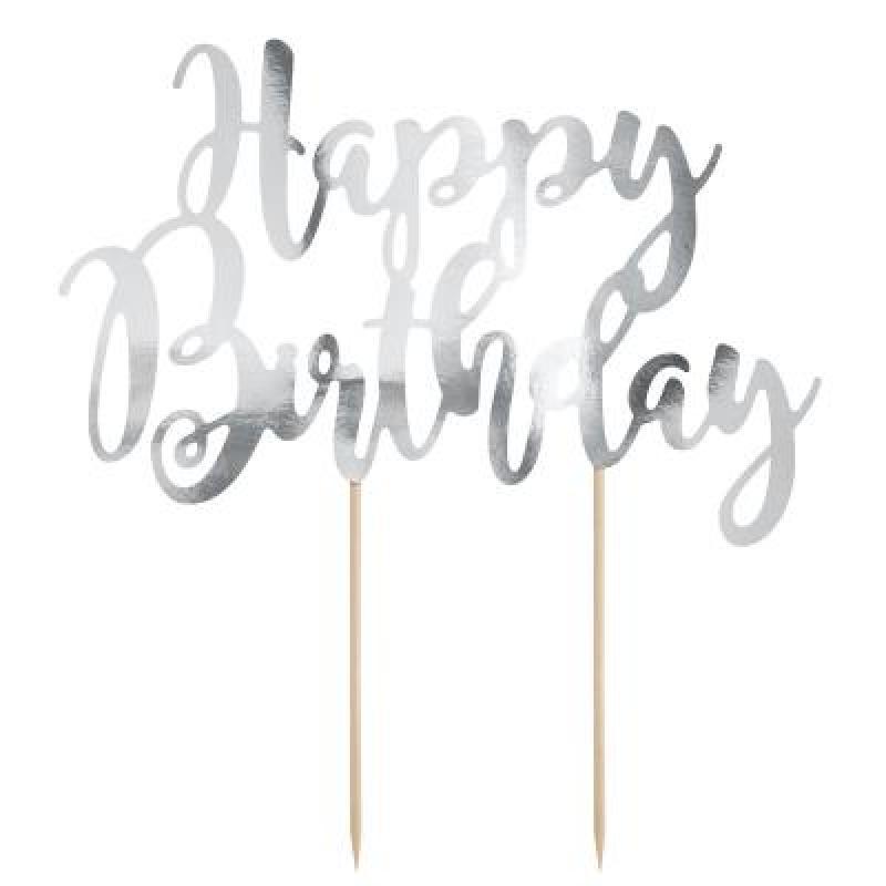 Zápich Happy Birthday strieborný