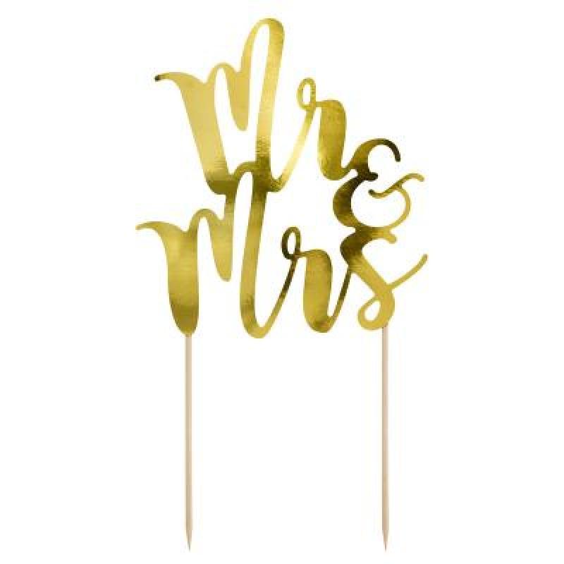 Zápich Mr+Mrs zlatý