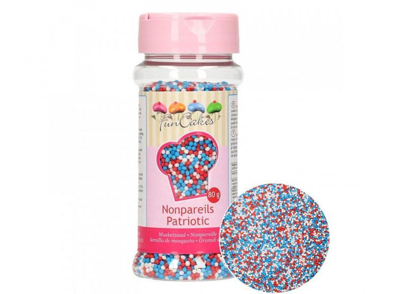 Cukrové zdobenie mini perličky červené-biele-modré 80g
