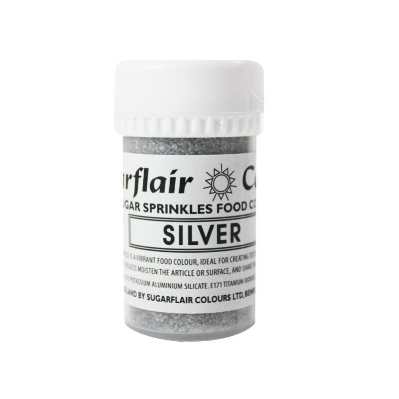 Práškový lesk Sugar sprinkle Silver, strieborný 20 g