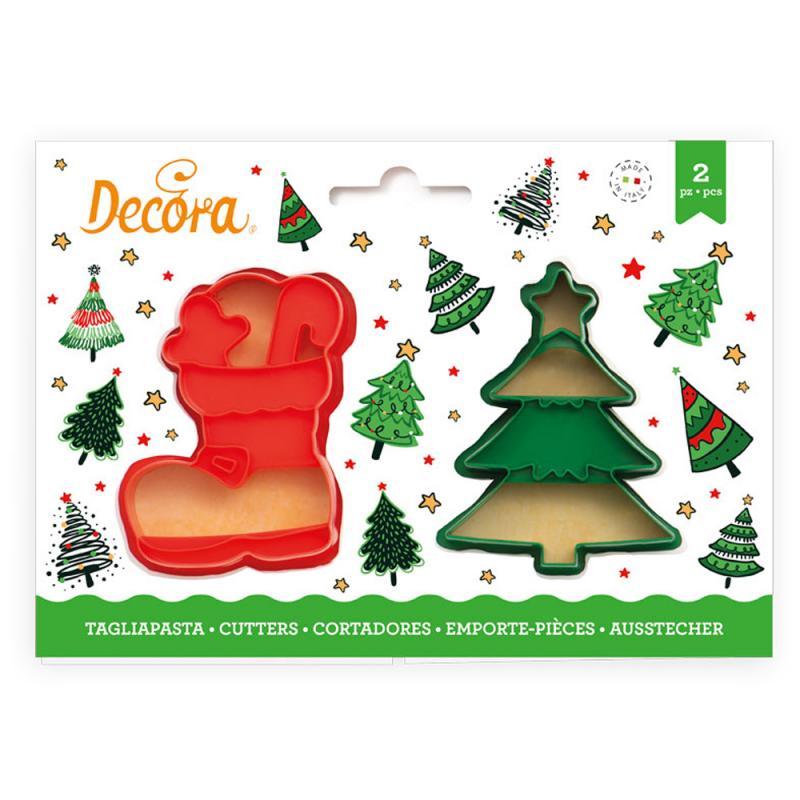 Sada 2 ks vykrajovátok čižma a vianočný stromček